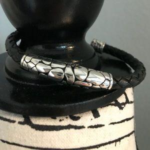 Jewelry - Stainless Steel Black Braided Leather Bracelet